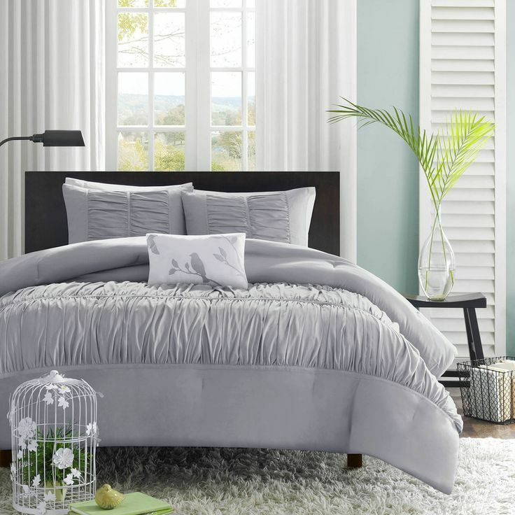 Beautiful Grey Chic Soft Ruffle Ruch Texture Duvet Cover