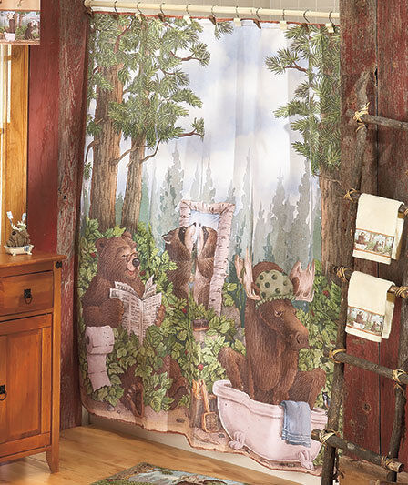 In The Woods Wildlife Shower Curtain Rug Towels Hooks Bear