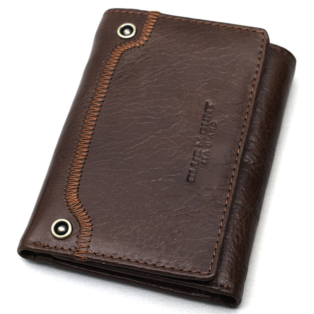 Mens Leather Wallet Trifold Cedit Card Holder ID Photo ...
