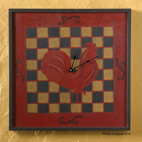 Square wall clock rooster on checkerboard pattern 18x18 for 18x18 window