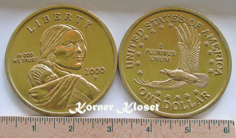"BIG 3"" NOVELTY REPLICA 2000 Sacagawea Gold Colored Dollar ..."