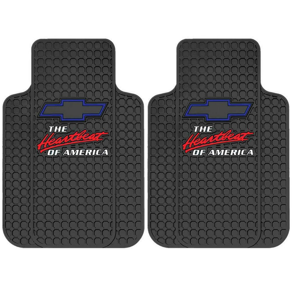 2pc Chevrolet Chevy Heartbeat Of America Black Rubber