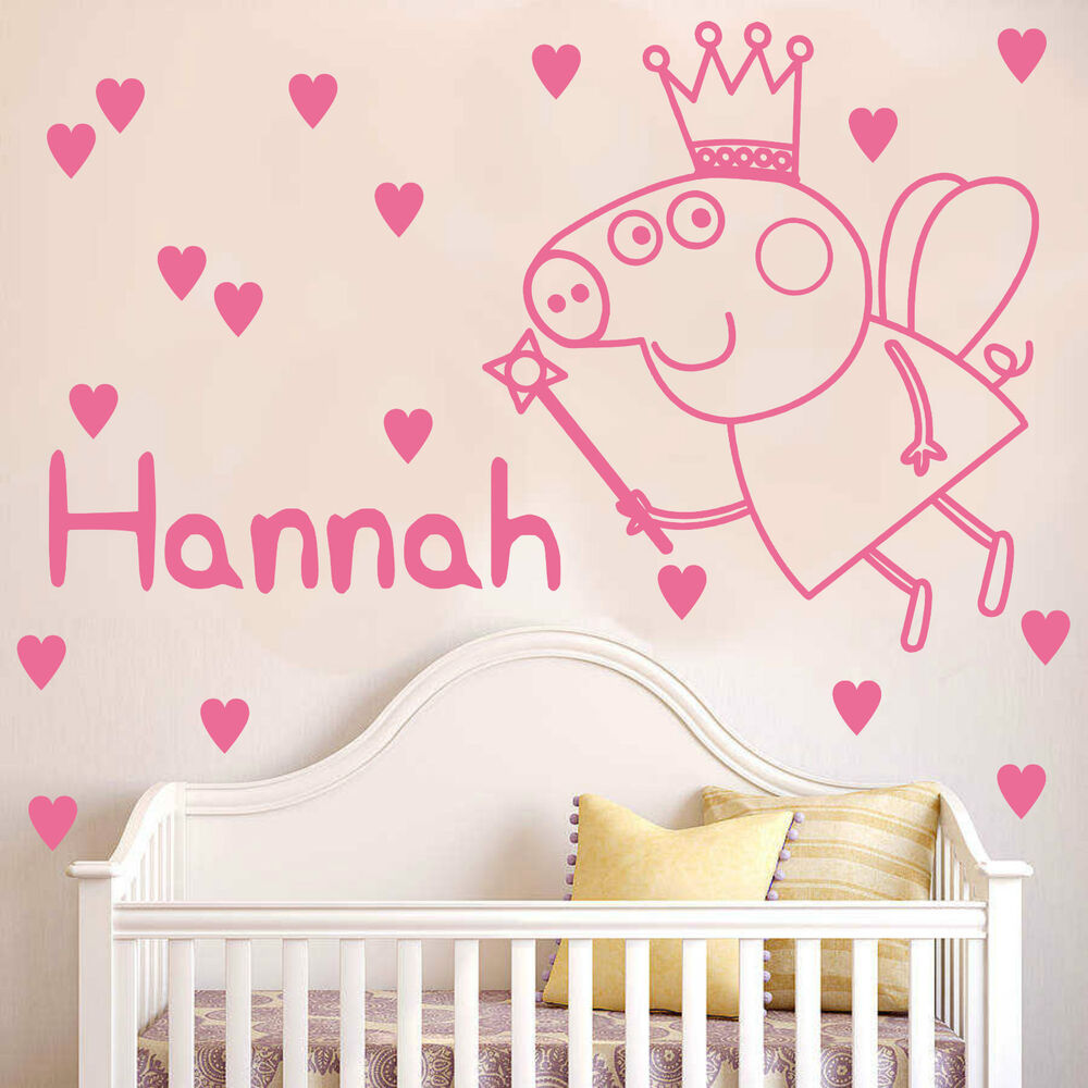 peppa pig wall sticker with personalised name and hearts decal peppa pig wall sticker with personalised name and hearts decal bedroom k2 ebay