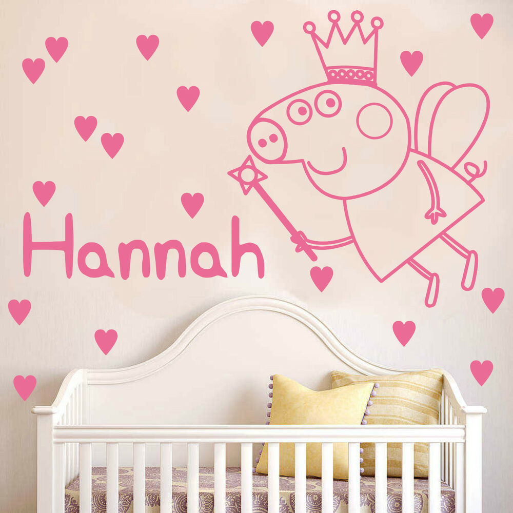 Peppa pig wall sticker with personalised name and hearts decal peppa pig wall sticker with personalised name and hearts decal bedroom k2 ebay amipublicfo Images