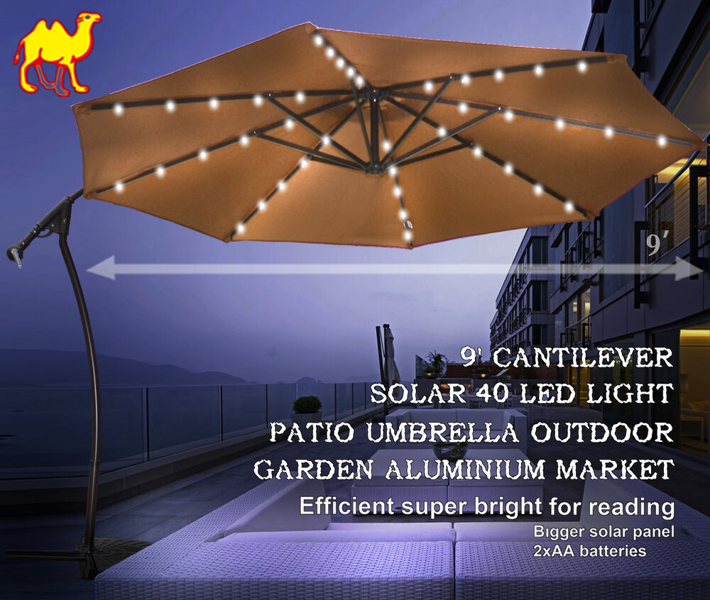 Led Umbrella Amazon: 9' CANTILEVER SOLAR 40 LED LIGHT PATIO UMBRELLA OUTDOOR