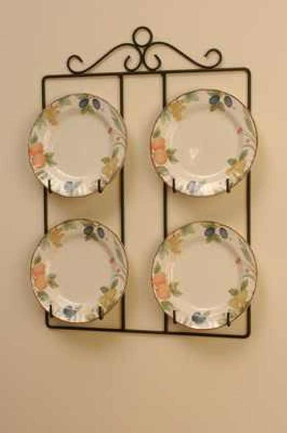 Victorian square 4 plate display holder wall hanger 24 for Decoration hangers