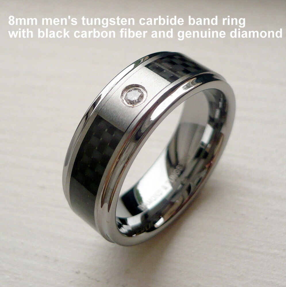 men 39 s 8mm tungsten carbide band ring black carbon fiber. Black Bedroom Furniture Sets. Home Design Ideas