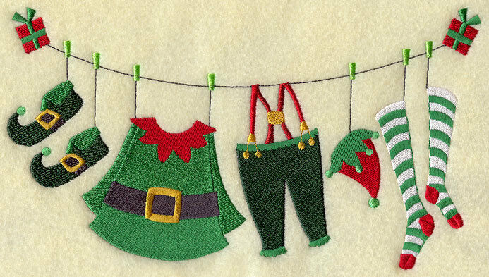 Elf Clothesline Tooo Cute Set Of 2 Bath Hand Towels