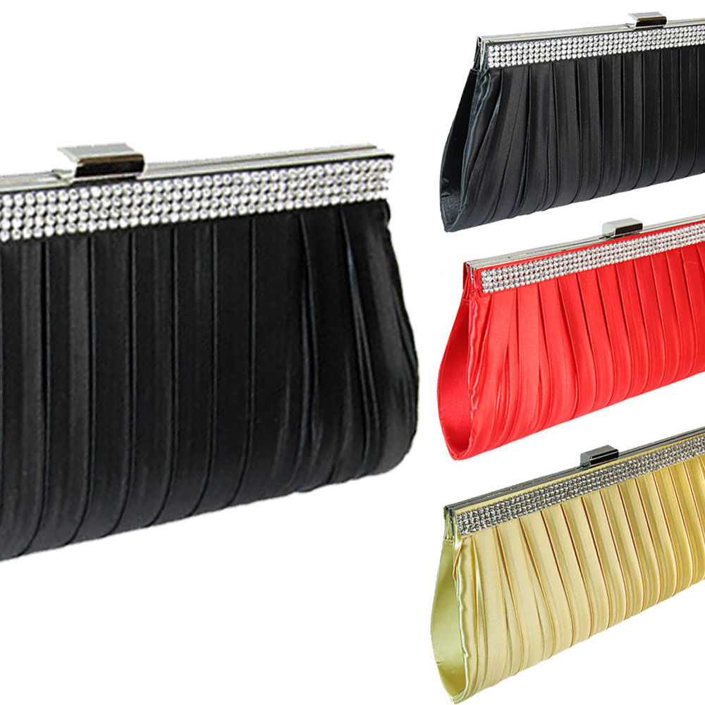 SATIN PLEATED DIAMANTE CLUTCH BAG PURSE EVENING | EBay