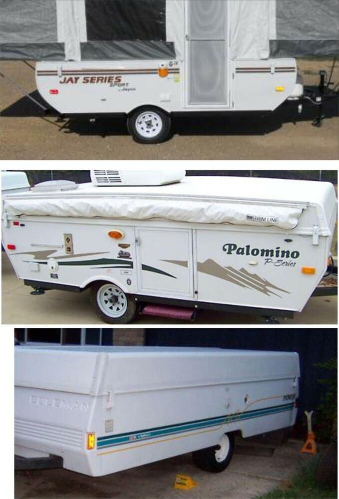 Custom pop up decal kits rv camper decals graphics sticker fleetwood popup jayco ebay