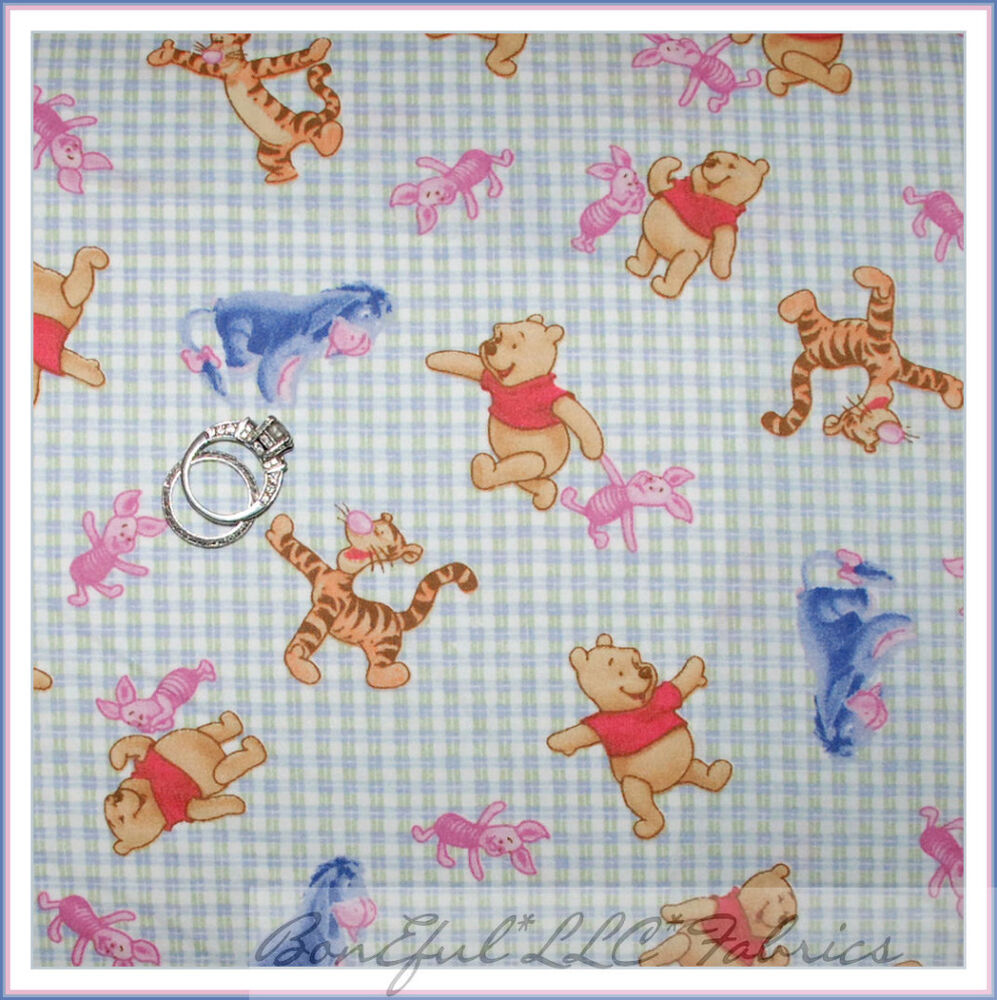 Boneful Fabric Fq Cotton Winnie The Pooh Disney S Gingham