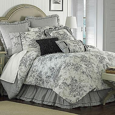 Floral French Toile King Comforter Set Black White New Nib