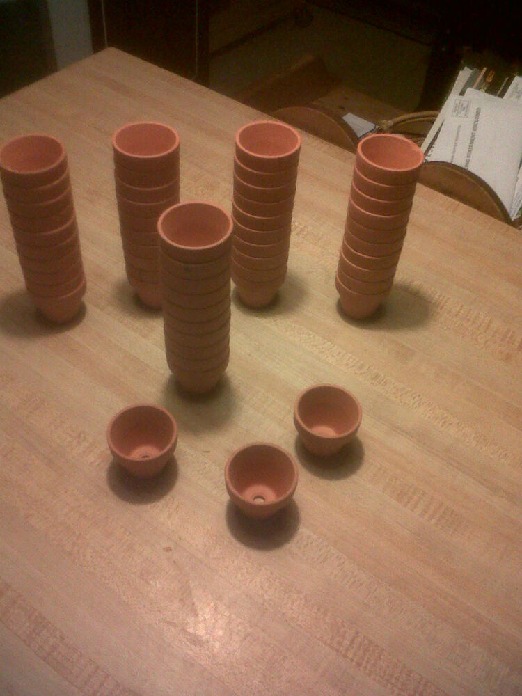 Lot of 25 mini terra cotta clay pots garden arts and for Small clay pots