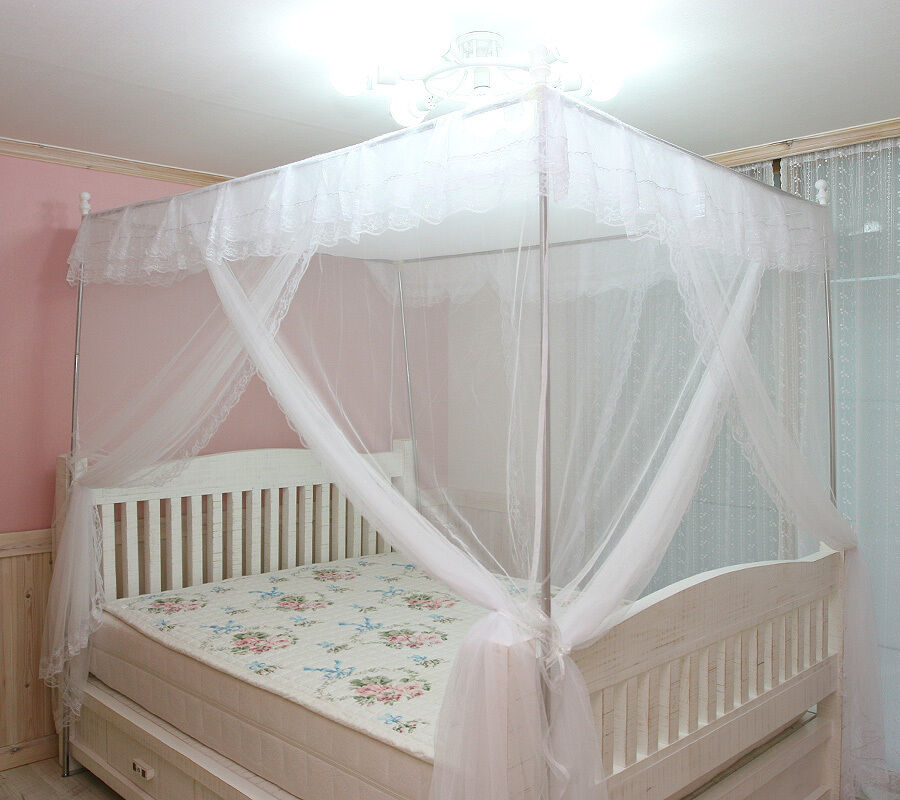 white luxury 4 post lace bed canopy frame set mosquito net new ebay. Black Bedroom Furniture Sets. Home Design Ideas