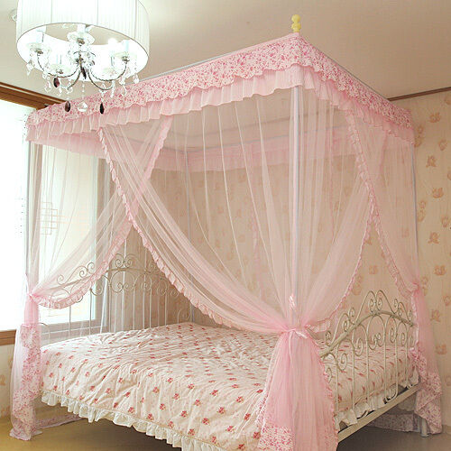 Pink Luxury 4 Post Lace Bed Canopy Frame Set Mosquito