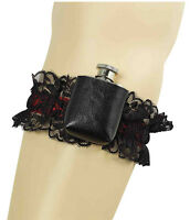 FEMALE #SEXY PIRATE GIRL BLACK GARTER WITH HIP FLASK FANCY DRESS ACCESSORY