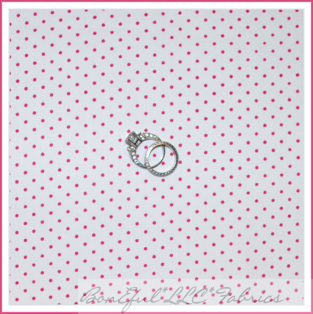 Boneful fabric fq cotton quilt white pink calico dot small for Baby girl fabric