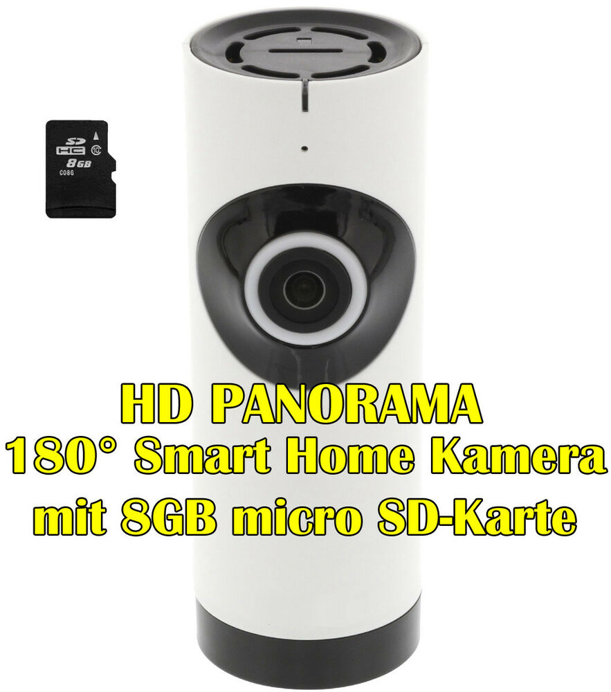 720p hd panorama 180 smart home ip kamera wlan berwachung 8gb micro sd karte ebay. Black Bedroom Furniture Sets. Home Design Ideas