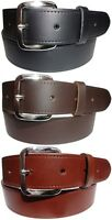 "Plain Leather Jeans Trouser Belt in Black Brown or Tan Silver Buckle 1&1/4"" Wide"