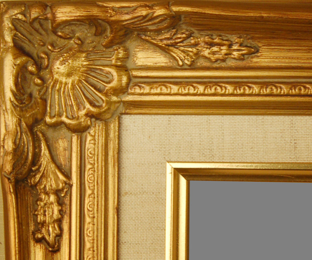 picture frame wood gold ornate linen wedding photo canvas art wide ebay. Black Bedroom Furniture Sets. Home Design Ideas