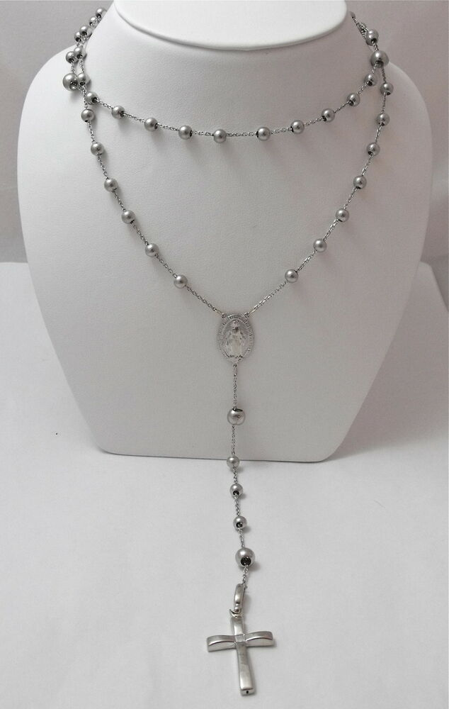14k White Gold Rosary Beads Necklace With Crucifix Cross