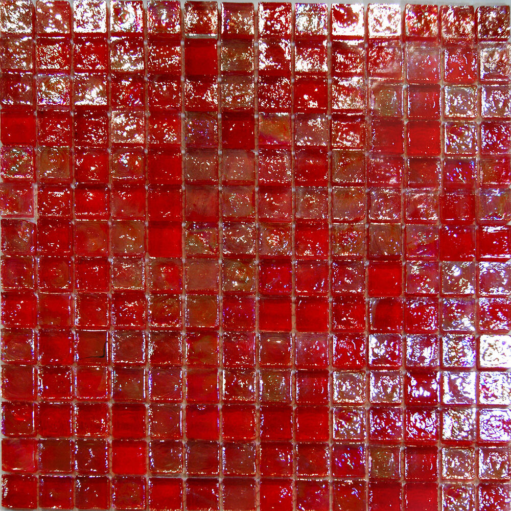 Sample red iridescent glass mosaic tile backsplash kitchen spa sink wall faucet ebay Backsplash mosaic tile