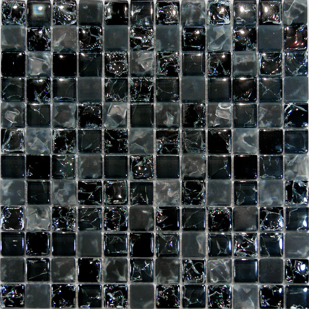 Sample Cream Crackle Glass Mosaic Tile Kitchen Backsplash: Sample-Black Crackle & Matte Glass Mosaic Tile Kitchen