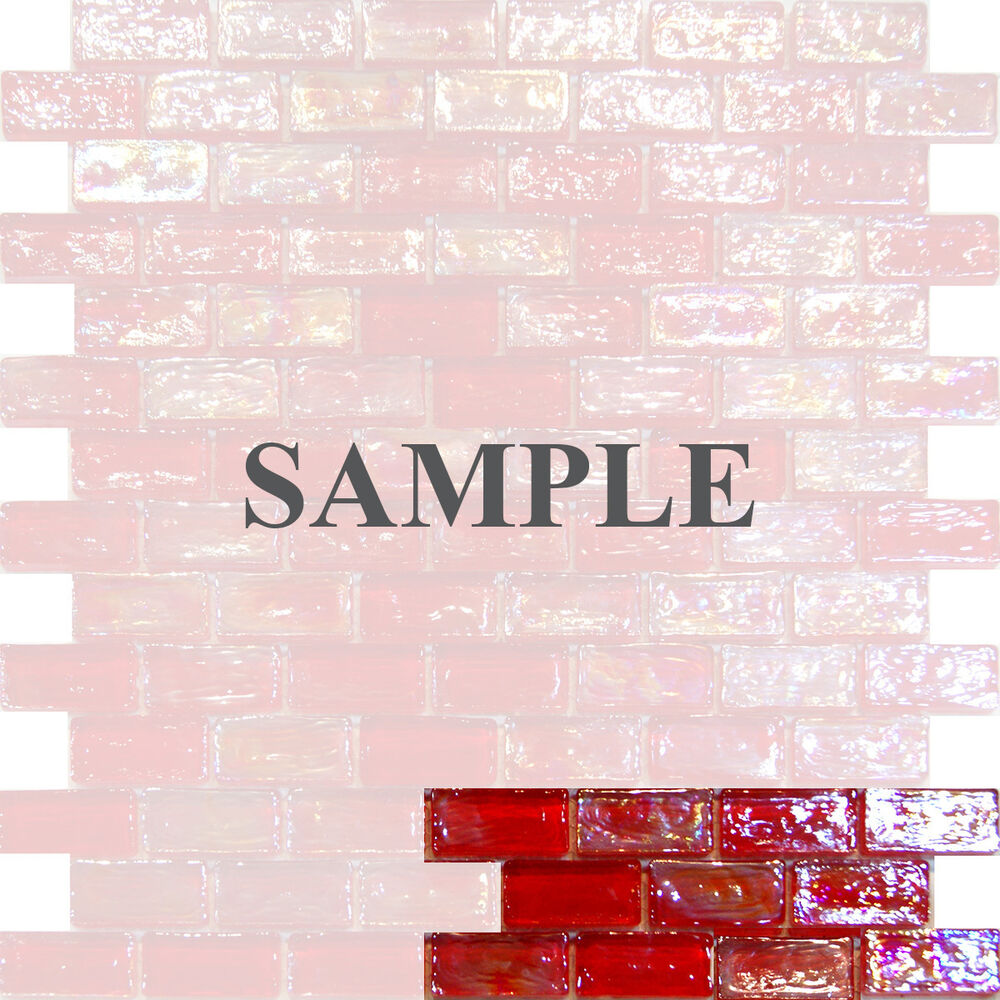 Sample Red Iridescent Subway Glass Mosaic Tile Kitchen