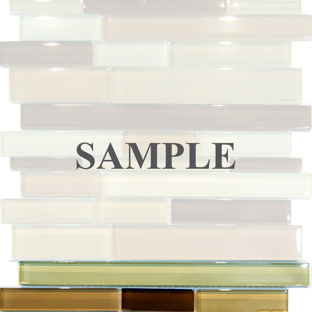 Sample Brown Glass Natural Stone Linear Mosaic Tile Wall: Sample-Brown Cream Beige Random Linear Pattern Glass