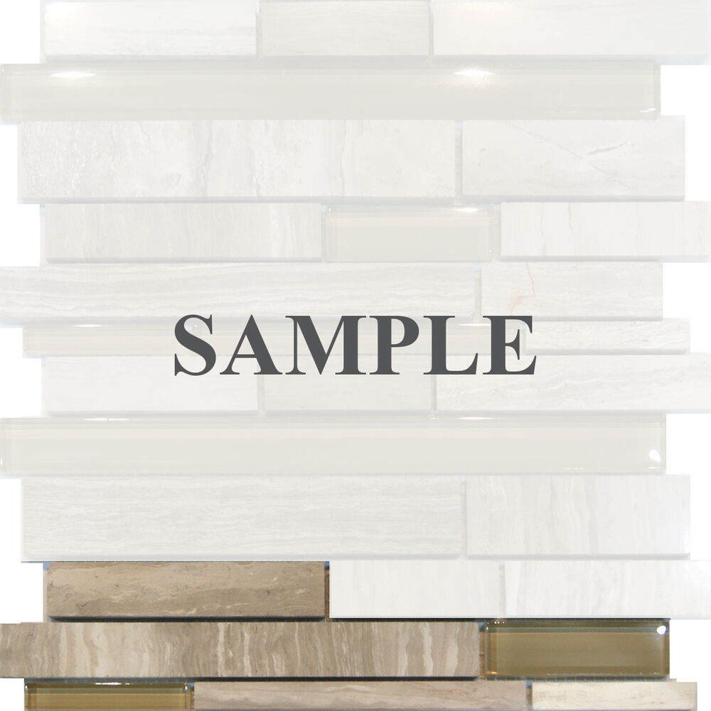 Sample White Glass Stone Metal Linear Glass Mosaic Tile: Sample-Wooden Gray Marble Stone & Glass Random Linear