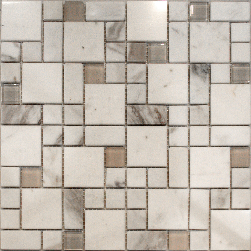 sample square pattern white carrara marble stone glass mosaic tile