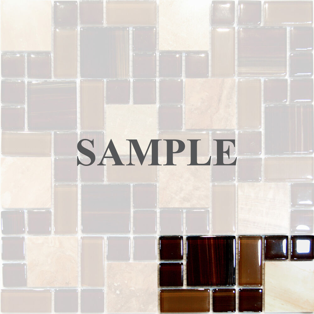 Sample White Gray Random Subway Glass Mosaic Tile Kitchen: Sample-Brown Random Square Pattern Marble Stone & Glass