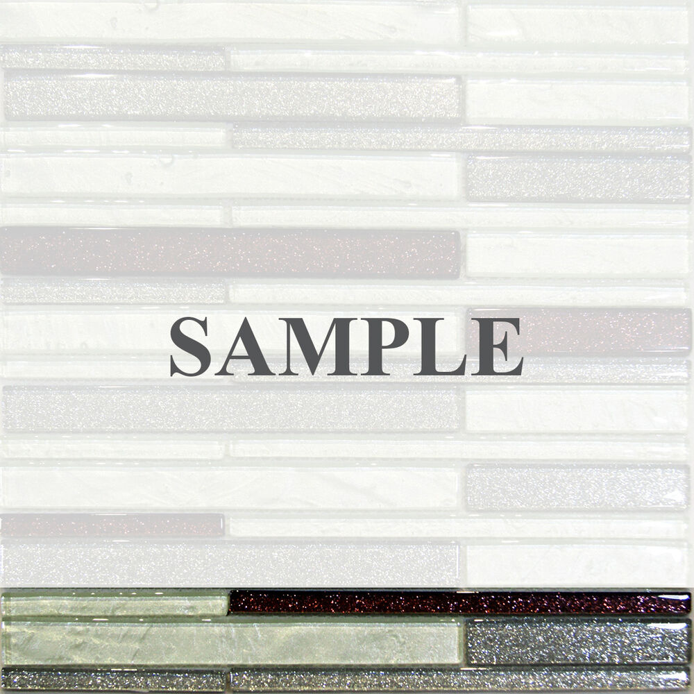 Sample Marble Green Brown Glass Linear Mosaic Tile: Sample-Metallic Gray Mint Brown Random Linear Glass Mosaic