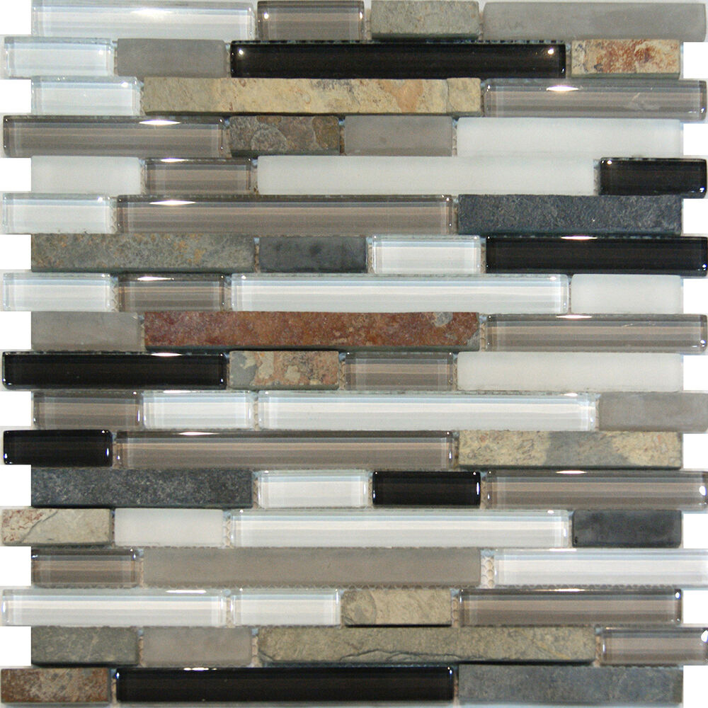 Sample-Slate Stone & Glass Gray White Linear Mosaic Tile