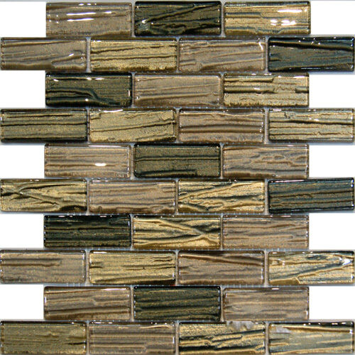 Wood Tile Kitchen Backsplash: Sample-Green Brown Metallic Wood Texture Backing Glass