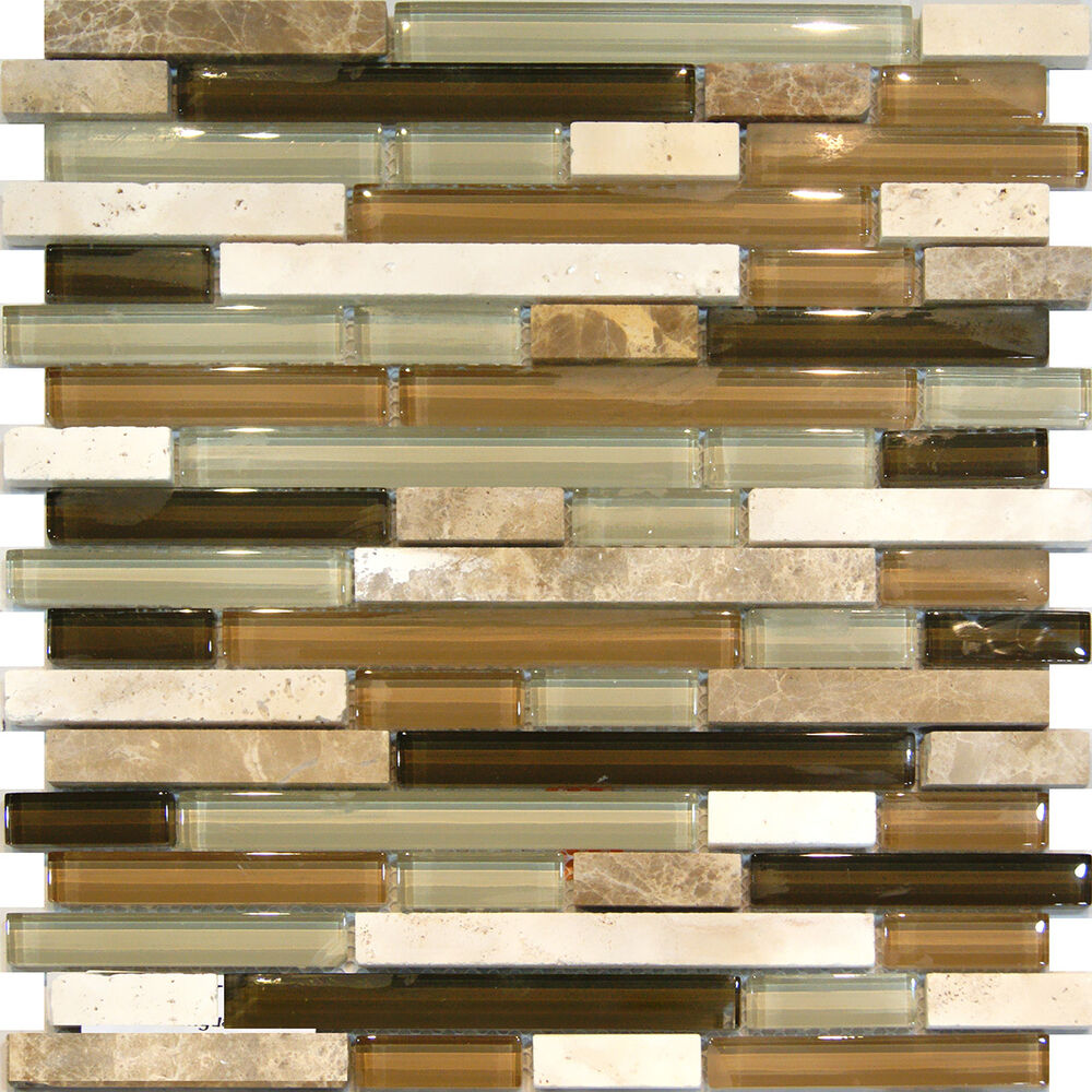 Sample Marble Green Brown Glass Linear Mosaic Tile: Sample-Marble Travertine Stone Green Brown Glass Linear