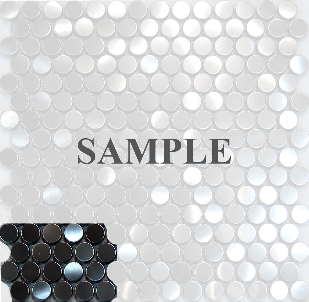 Sample penny circle stainless steel mosaic tile kitchen