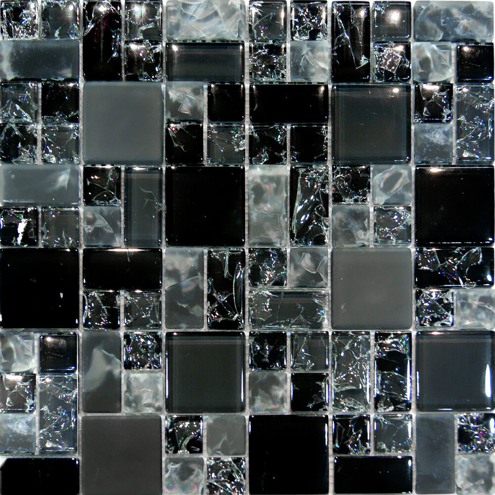 Sample Cream Crackle Glass Mosaic Tile Kitchen Backsplash: 10SF-Black Polish & Matte Square Pattern Crackle Glass