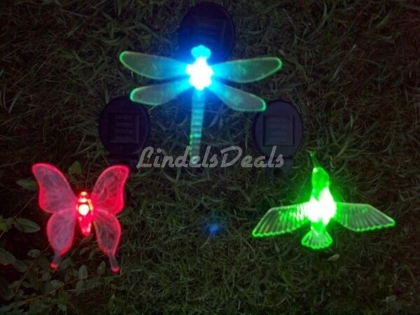 Solar Powered Garden Stake Light Decor Hummingbird Butterfly Or Dragonfly Ebay