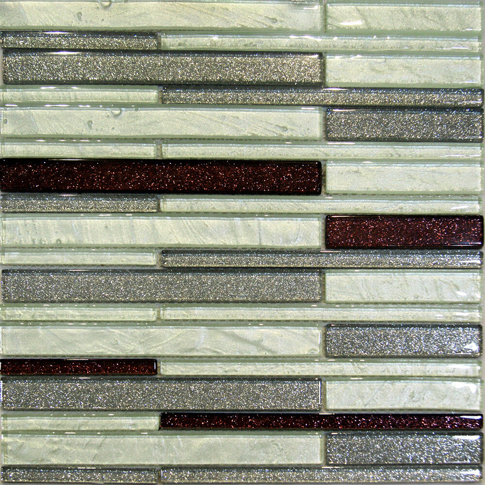 Sample Brown Glass Natural Stone Linear Mosaic Tile Wall: 1SF-Metallic Gray Mint Brown Random Linear Glass Mosaic