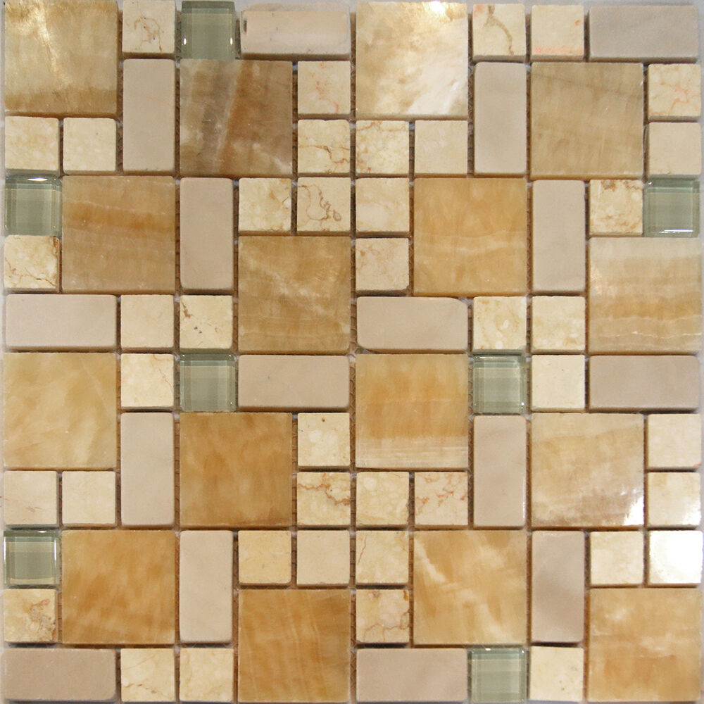 Kitchen Tiles Square: 1SF-Square Pattern Honey Onyx Crema Marfil & Glass Mosaic