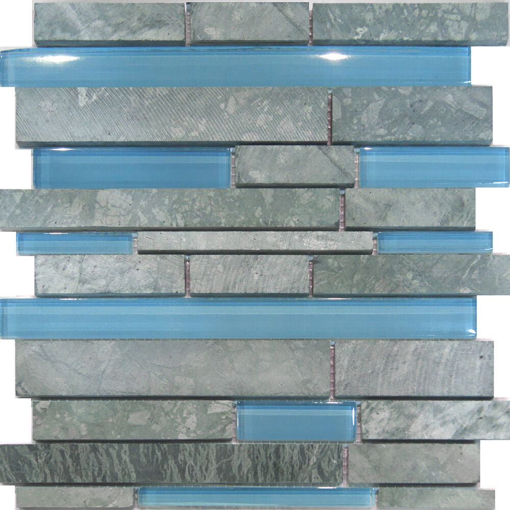 1sf marble stone blue glass random linear mosaic tile