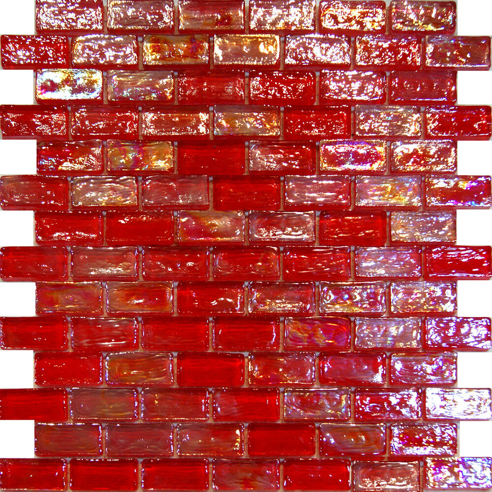 Red Kitchen Glassware: 1SF-Red Iridescent Subway Glass Mosaic Tile Backsplash