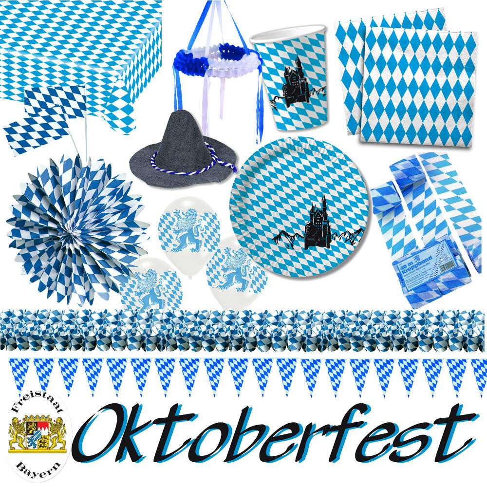 bayern oktoberfest alles zur mottoparty blau weiss bayern deko partygeschirr ebay. Black Bedroom Furniture Sets. Home Design Ideas