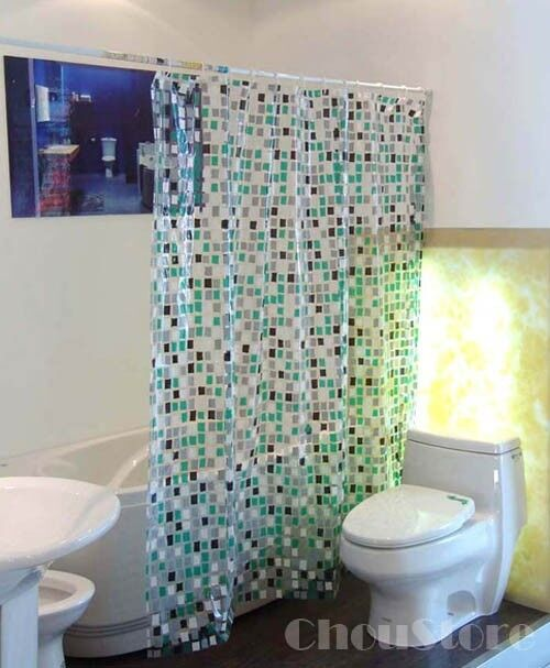 Bathroom Shower Curtain With Transparent Mosaic Pattern E12 EBay