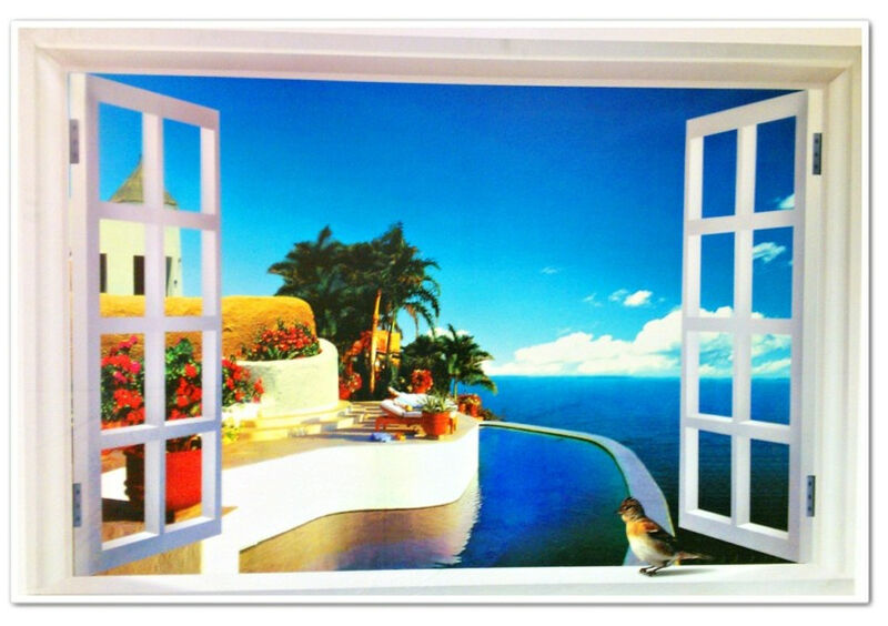 fen tre 3d plage avec vue t murale fresque tapisserie papier peint ebay. Black Bedroom Furniture Sets. Home Design Ideas