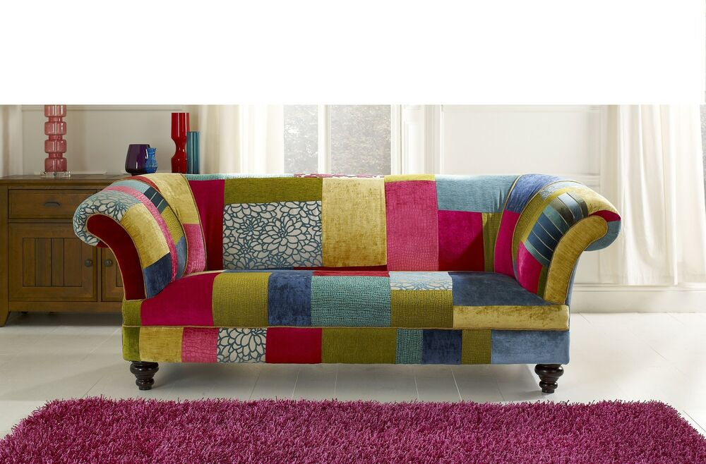 Bright coloured patch work chesterfield sofa brand new | eBay