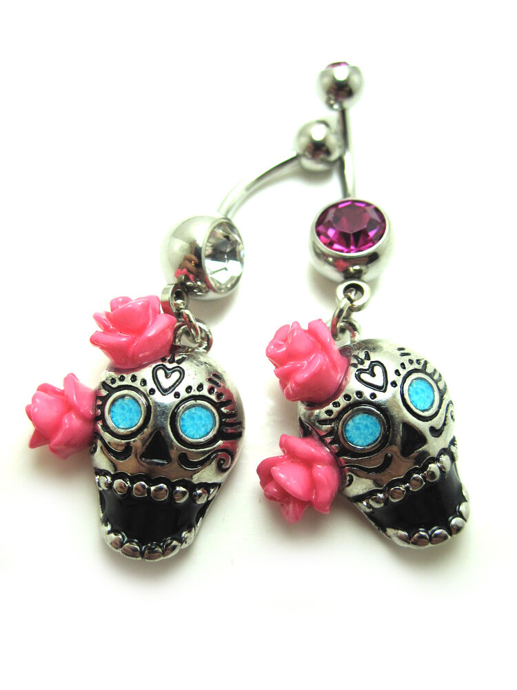 Day of the dead skull with rose design navel belly for Day of the dead body jewelry