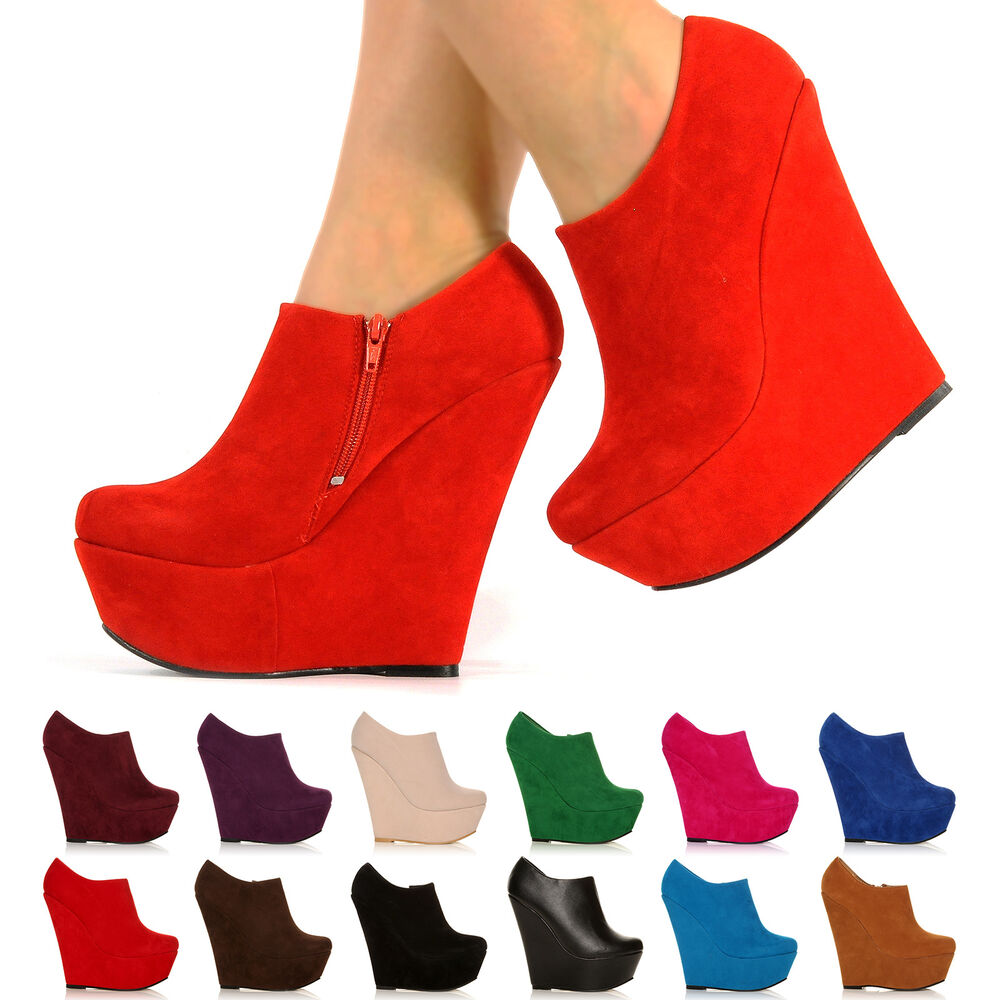 NEW PLATFORM HIGH HEEL WEDGE ANKLE SUEDE SHOE BOOTS SHOES ...