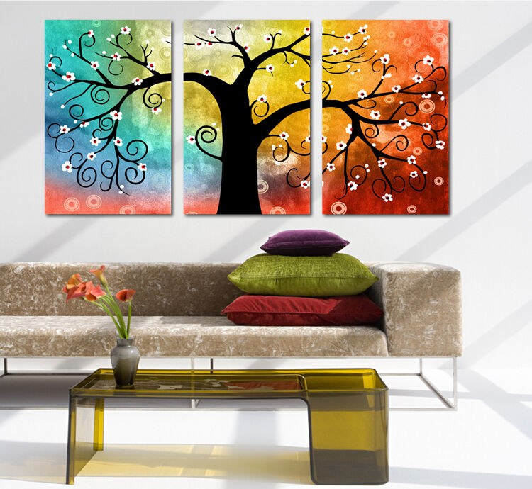 Jual Wall Art Print : Rainbow coulour abstract tree wall decorative canvas print